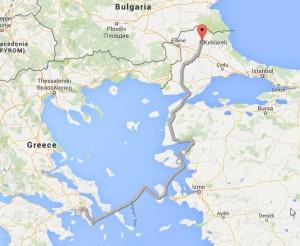 Kirklareli-Ayvalik-Mitilini-Athens